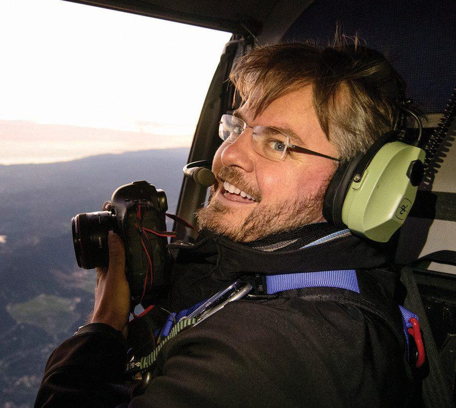 "Pulitzer Prize-winning alumnus and former Daily photo editor Vincent Laforet  (Medill '97) takes aerial photos from a helicopter. Laforet recently released the second edition of his book, ""AIR,"" which features photos of major cities at night."