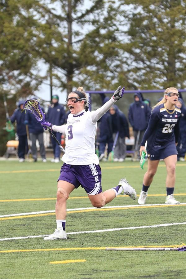 Christina+Esposito+celebrates+a+goal+against+Notre+Dame+on+Sunday.+The+junior+attacker+put+4+of+the+Wildcats%E2%80%99+17+goals+in+the+net.+