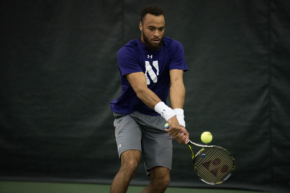 Sam Shropshire prepares a backhand. The junior will look to help the Cats capture the Big Ten title in the postseason after previously falling a win short.