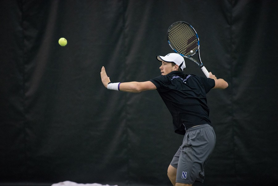 (Daily file photo by Daniel Tian) Strong Kirchheimer prepares a forehand. The junior led NU to a win over Iowa, defeating his opponent in straight sets, 6-0, 6-0.