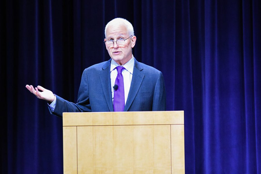 "University President Morton Schapiro speaks at the second of two ""Conversations with the President"" on Tuesday. He said he respects students' free speech and their use of peaceful protest."