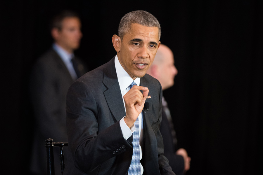 President Barack Obama speaks at the University of Chicago on Thursday. The president argued for Senate Republicans to hold a hearing for Judge Merrick Garland, his pick to replace Justice Antonin Scalia on the Supreme Court.