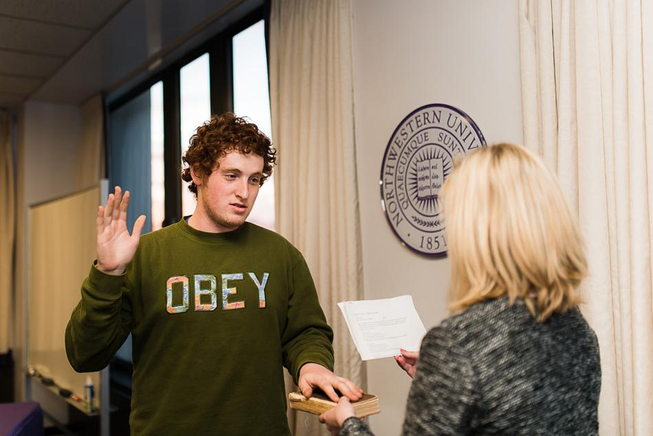 Weinberg senior Noah Star is sworn in as Associated Student Government president in April 2015. Star's term ends Wednesday evening, when SESP junior Christina Cilento will be sworn in.