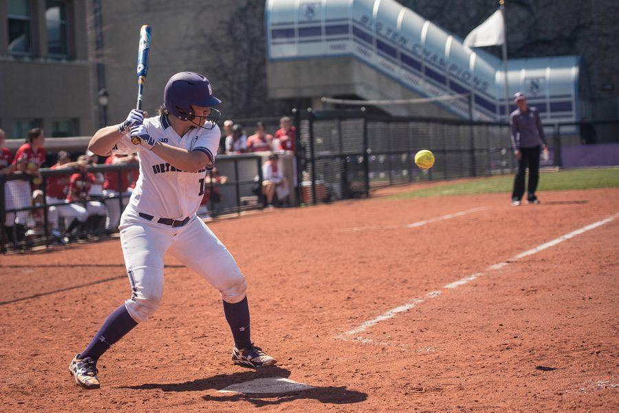 Sammy Nettling prepares to hit the ball. The sophomore catcher was held hitless in 4 at-bats in Sunday's series finale.