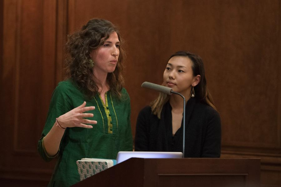"Leah Varjacques (Medill '15, left) and Katherine Nagasawa (Medill '15) talk about their documentary ""Beyond the Seal"" at Harris Hall on Tuesday. The documentary depicted banana farmers advocating for fair-trade practices that would better working conditions."