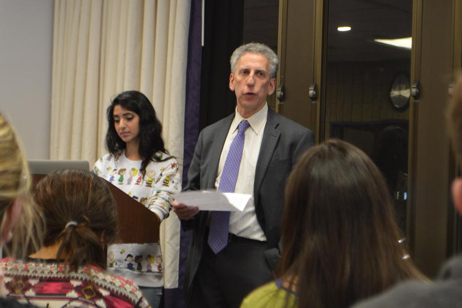 Provost Dan Linzer speaks at Associated Student Government Senate on Wednesday. Linzer defended former U.S. Ambassador to Afghanistan Karl Eikenberry's appointment as executive director of the Buffett Institute for Global Studies.