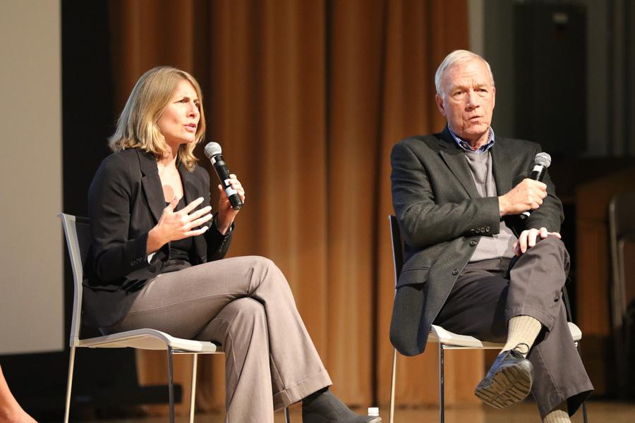 Boston Globe journalists Sacha Pfeiffer (left) and Walter Robinson discuss their Pulitzer Prize-winning work that uncovered a series of Roman Catholic Church sexual abuse cases in Boston. The journalists visited Northwestern during an event hosted by A&O Productions and Studio 22.