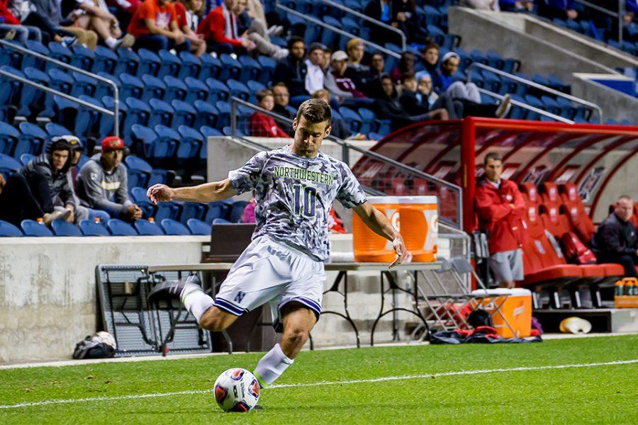 Joey Calistri readies to cross the ball. Following his senior season, the forward signed a contract with MLS's Chicago Fire and is working to make a name as a professional.