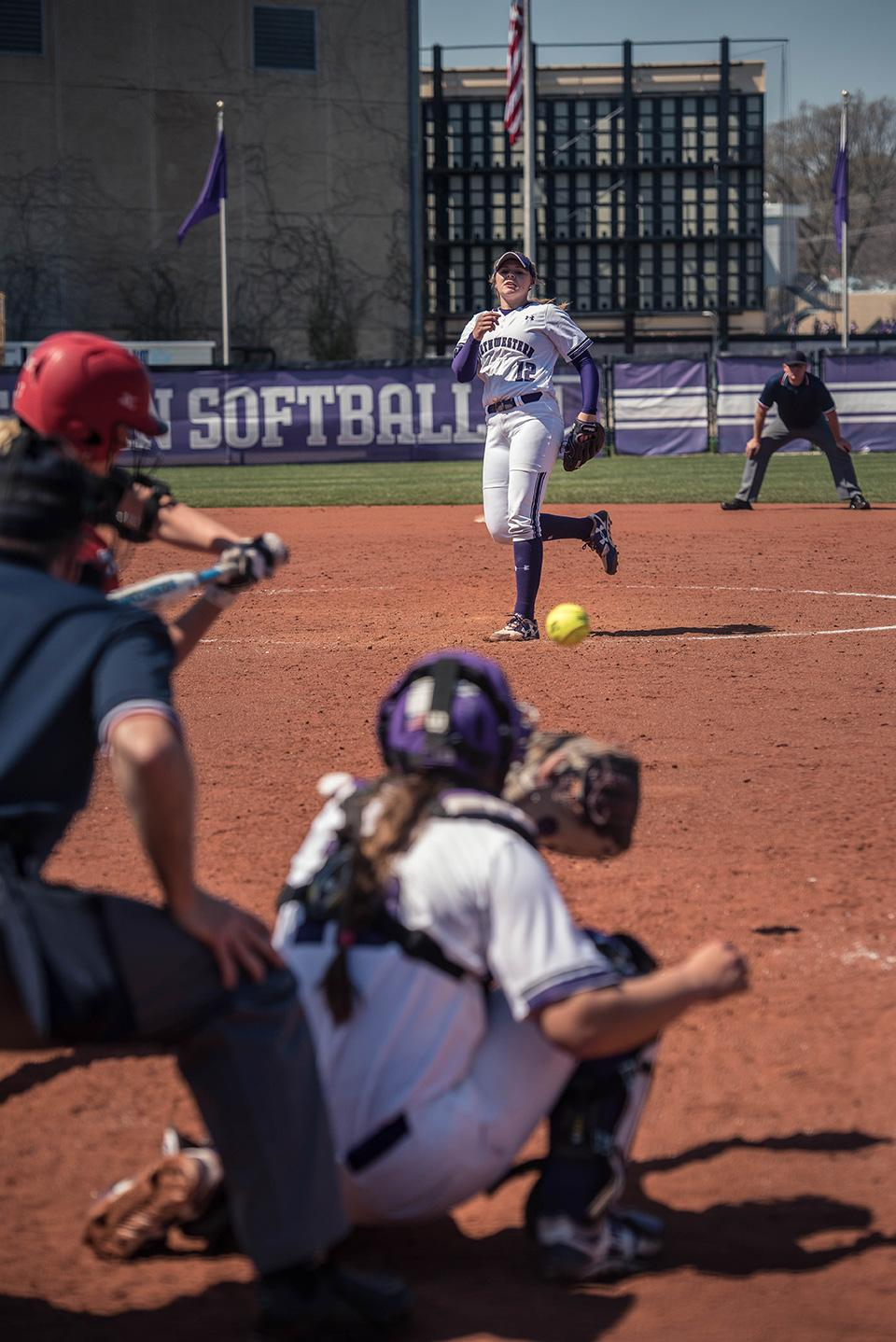 Kenzie Ellis fires a pitch. The freshman pitcher will look to help shut down Loyola University Chicago  in Northwestern's final home game of the season.