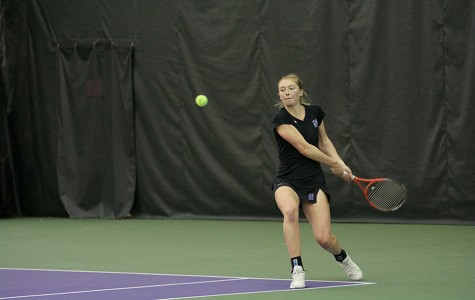Alicia Barnett prepares a backhand shot. After beginning the season on a sour note, the Wildcats have gone undefeated in Big Ten play.