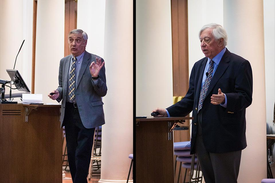Profs. Joel Mokyr (left) and Robert Gordon debate the future of economic growth. Gordon argued that US growth will never return to its mid-century peak, while Mokyr countered that technology will continue to fuel advances in productivity.