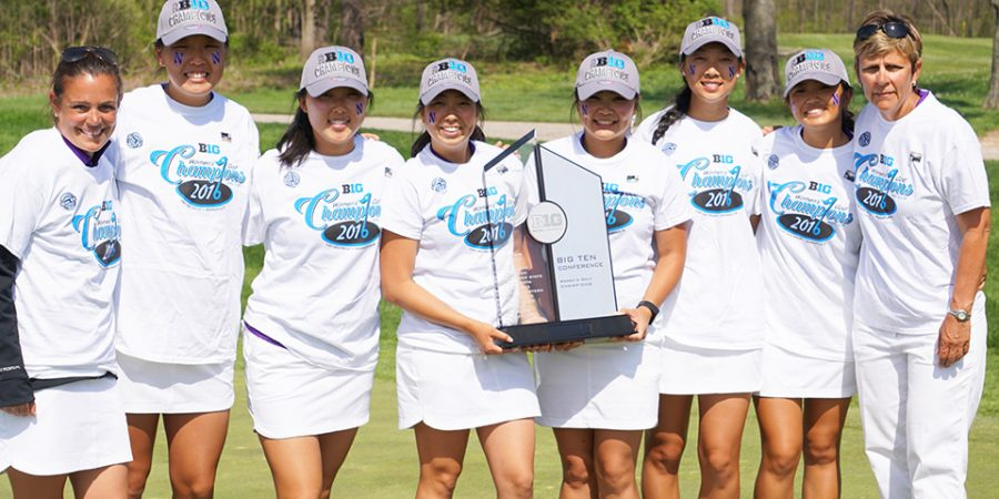 The+women%27s+golf+team+poses+with+their+trophy+after+winning+the+Big+Ten+title.+The+team+finished+tied+for+first+with+Ohio+State+for+the+second+year+in+a+row.