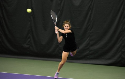 Brooke Rischbieth returns the ball. The junior clinched Sunday's match against Indiana for the Wildcats at No. 5 singles.