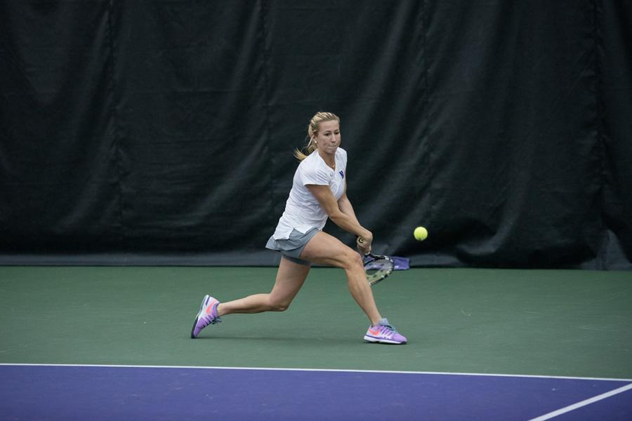 Maddie Lipp lunges for a backhand. The sophomore is 17-10 in her overall in singles matches this year.