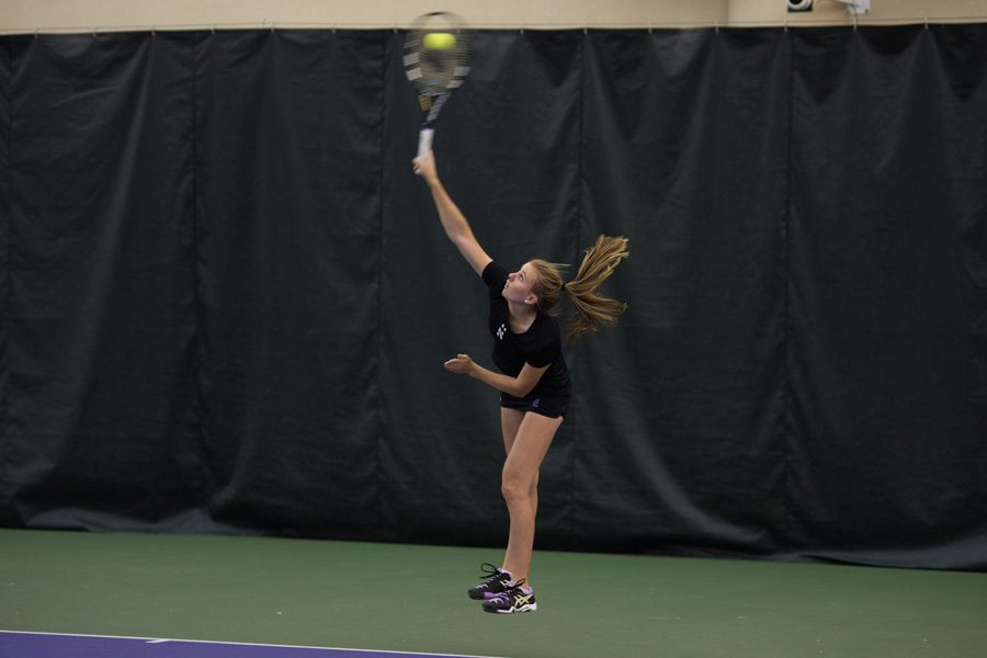 Erin Larner serves the ball. The sophomore was recognized by the conference after an undefeated weekend stretch.