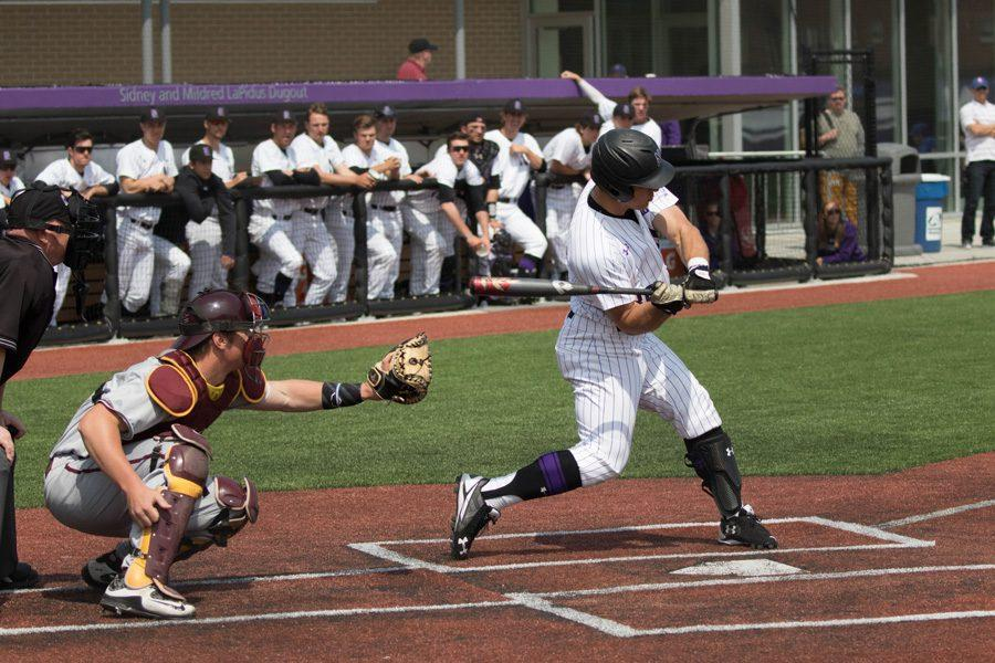 Joe Hoscheit takes a cut. The junior outfielder hit a grand slam in Sunday's 7-6 loss to Indiana.