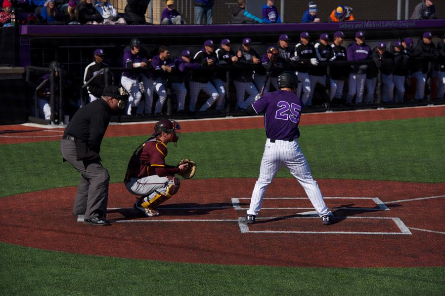 Zach Jones settles in the batter's box. The senior recently collected his 200th career hit at Northwestern.