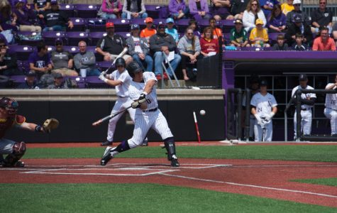 Joe Hoscheit swings at the pitch. The junior outfielder notched 1 of the Wildcats' 4 hits during the team's last game Wednesday.