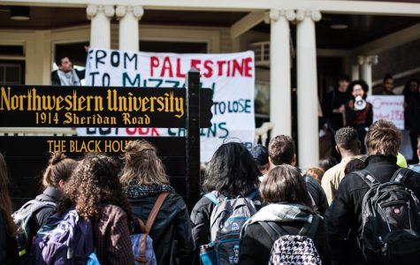 Students gather outside the Black House last November to protest institutional racism and proposed changes to the facility. By the end of Fall Quarter, the proposed changes were dropped and Patricia Telles-Irvin, vice president for student affairs, appointed two committees to evaluate the black student experience at Northwestern.