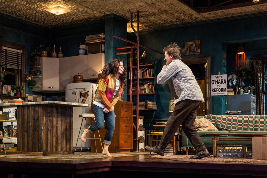 "Diane Davis (Communication '00) and Chris Stack (right) perform a scene from the Goodman Theatre's upcoming production of ""The Sign in Sidney Brustein's Window,"" featuring costumes designed by Alison Siple (Communication '98). Siple has worked on more than 70 productions in Chicago and across the U.S."