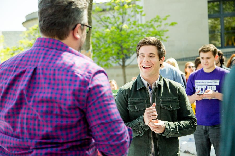 "Actor Adam DeVine laughs with director Jake Szymanski (Communication '04) at The Rock. The duo visited Northwestern on Wednesday to promote its upcoming film ""Mike and Dave Need Wedding Dates."""