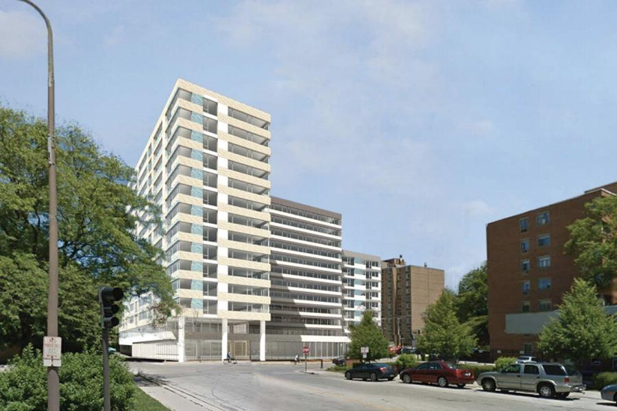 An initial rendering of the proposed housing development on Emerson Street. The high-rise, which would have been located at 831 Emerson Street, spurred city officials to consider creating a downtown sub-area north of Emerson Street.