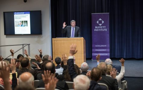 Karl Eikenberry responds to criticisms of military background during Northwestern visit