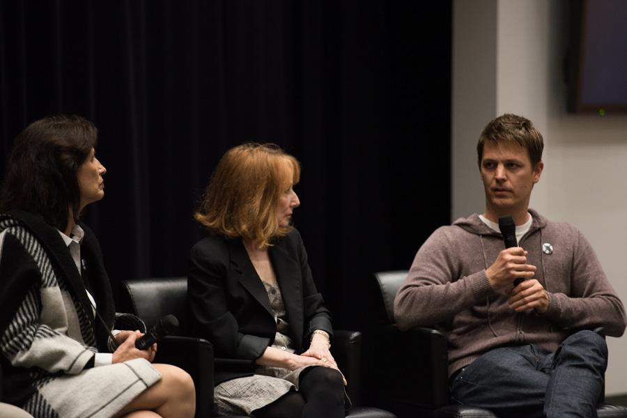 """Brian Oakes discusses his film """"Jim: The James Foley Story"""" alongside other panelists, including Diane Foley, James Foley's mother, and documentarian Maria Finitzo. Oakes discussed his reasons for making the film and the messages he hopes audiences will take away from it."""