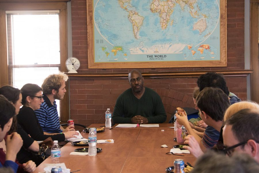 Weinberg Prof. Barnor Hesse speaks at the Buffett Institute for Global Studies. Hesse teaches in the departments of African American studies, sociology and political science.