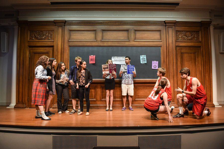 "Students rehearse for the upcoming production of ""High School Musical,"" produced by and cast with a team of entirely freshmen students. The show will open May 27 in Harris Hall."