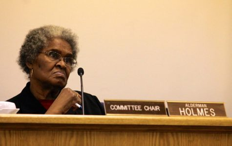 Ald. Delores Holmes (5th) speaks at a City Council meeting. Holmes moved to hold the allocation of waste transfer station fees until a meeting was planned for impacted residents to provide input on how to spend the money.
