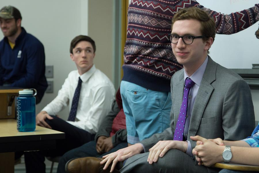 Interfraternity Council president Will Altabef, a Communication junior, answers questions during a forum Monday evening. The IFC executive board hosted the event to discuss student concerns and ideas following the banner controversy.