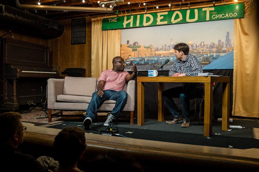 Mark Bazer (Weinberg 95) interviews actor Hannibal Buress in his talk show, The Interview Show. Bazer runs his live show every month at a bar in Chicago and recently decided to bring it to WTTW, Chicagos PBS affiliate.