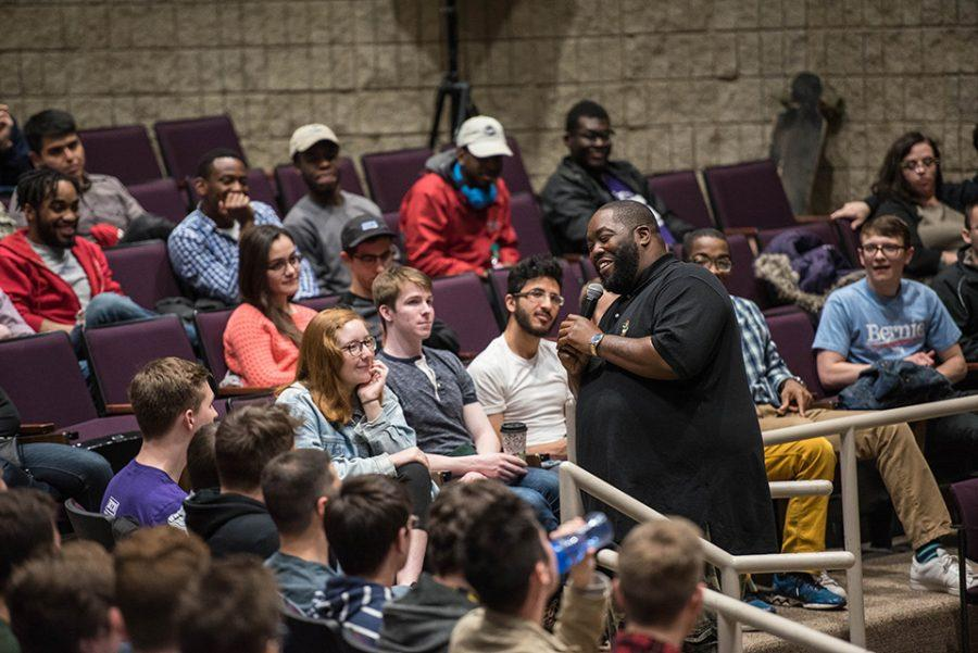 Killer Mike speaks in Leverone Auditorium on Wednesday night. In his speech, he covered a wide range of issues including political engagement, racism and homophobia.