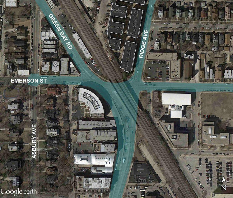 The+Emerson+Street%2C+Ridge+Avenue+and+Green+Bay+Road+intersection+will+be+improved+through+the+Emerson-Ridge-Green+Bay+Improvements+Project.+Construction+on+the+project+officially+kicked+off+Wednesday.
