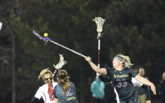 Shelby Fredericks battles for a draw control. The sophomore attacker scored 3 goals in Northwestern's last game.