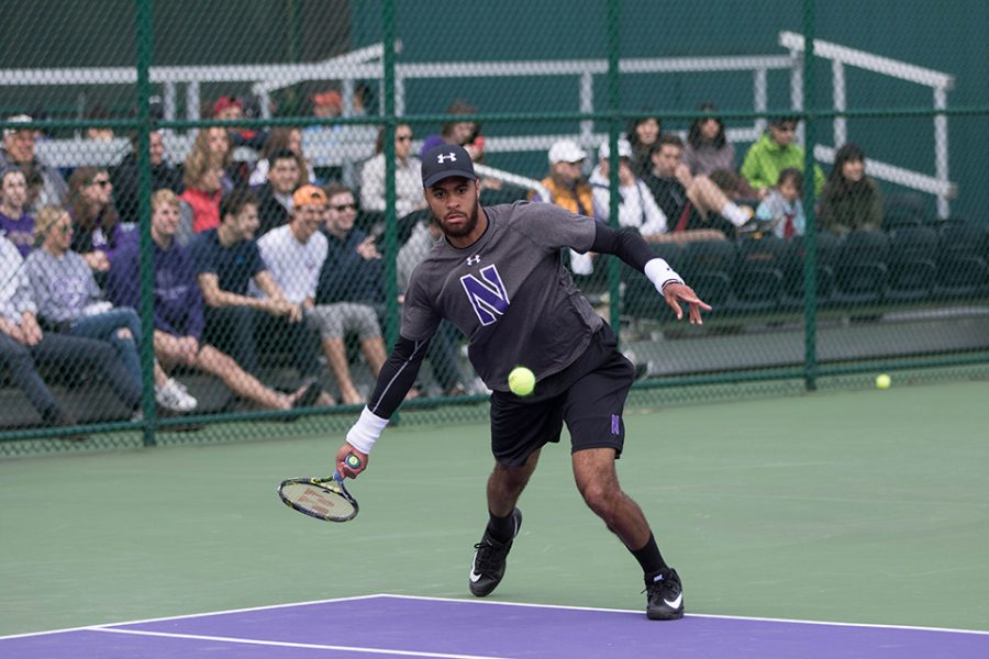 Sam Shropshire hits a forehand. The junior will be one of three Wildcats participating in the NCAA singles tournament in Tulsa, Oklahoma.