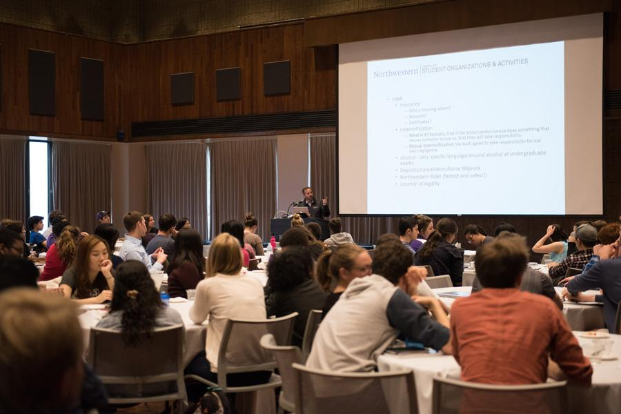 Brent Turner, executive director of Campus Life, addresses group leaders at the Student Organization Symposium in the Louis Room at Norris University Center. Turner's office recently announced plans to mandate most groups admit all interested students by the end of next academic year or risk losing resources from the University.