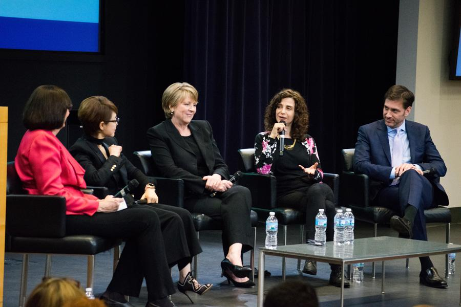 Tina Rosenberg (Medill '82) speaks during the panel. She was inducted into the Medill Hall of Achievement  along with five other honorees.