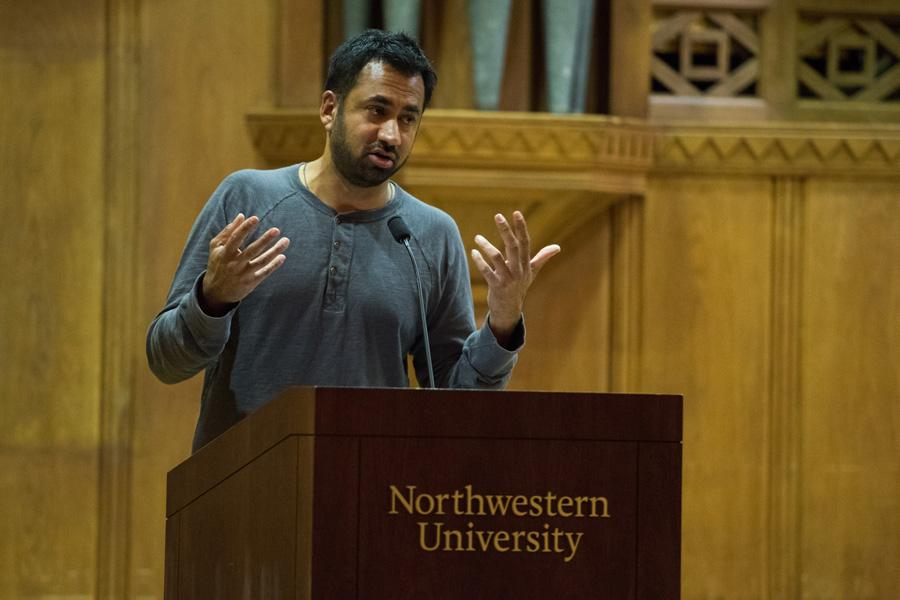 """Kal Penn speaks at Lutkin Hall on Friday. Penn, known for his role as Kumar Patel in the comedy film """"Harold & Kumar Go to White Castle,"""" discussed his career and diversity in the film industry."""