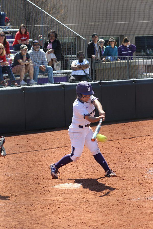 Brooke+Marquez+makes+contact+with+the+ball.+The+sophomore+second+baseman+was+2-for-3+with+an+RBI+in+Friday%E2%80%99s+win+over+Ohio+State.+