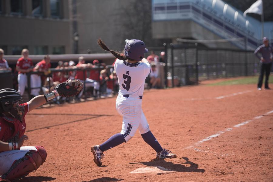 Brooke Marquez hits the ball. Much like the rest of Northwestern's offense this weekend, the sophomore infielder struggled at the plate, only notching 1 hit in 10 at-bats.