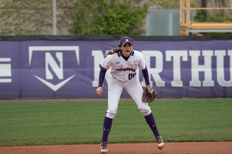 Andrea Filler prepares to field before a pitch. The senior shortstop is tied for the team lead with 14 home runs.