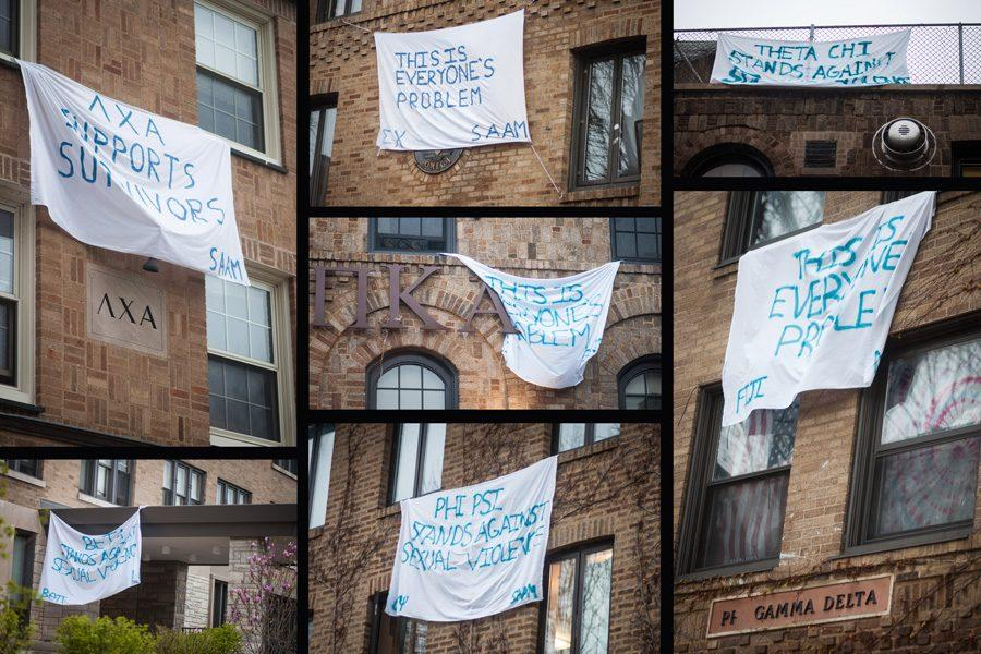 Fraternities+hung+banners+in+support+of+sexual+assault+victims.+April+was+Sexual+Assault+Awareness+Month.+