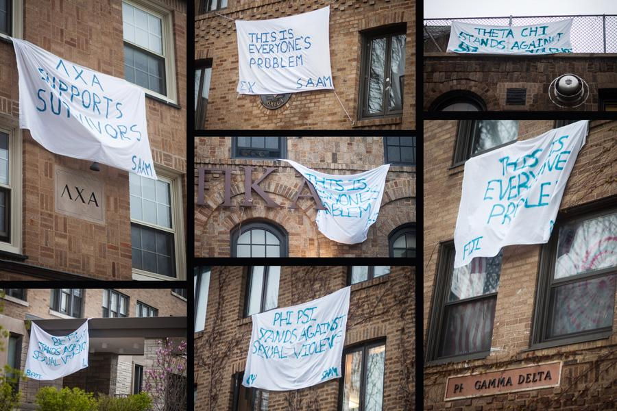 Fraternities hung banners in support of sexual assault victims. April was Sexual Assault Awareness Month.