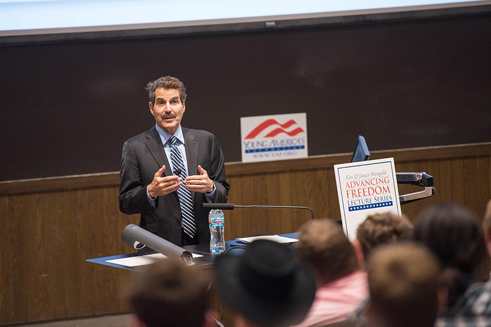 John Stossel speaks in Leverone Hall. Stossel, a host on the Fox Business Network, discussed his personal journey to becoming a libertarian.