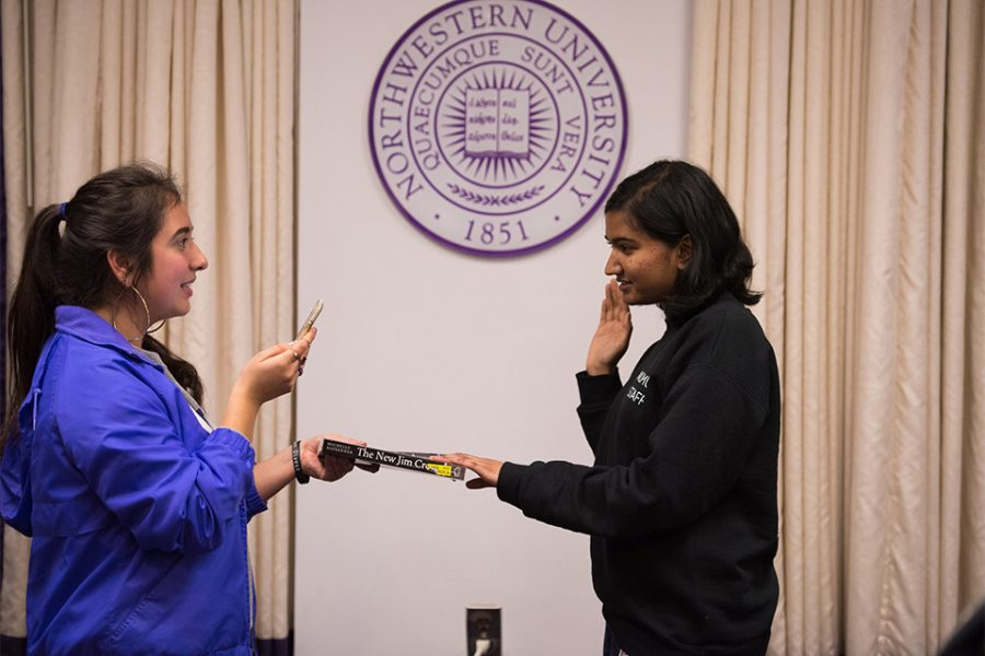 SESP sophomore Sumaia Masoom is sworn in as the second co-vice president for student life. Masoom became the seventh member confirmed to ASG's cabinet who publicly endorsed ASG president Christina Cilento during April's election.