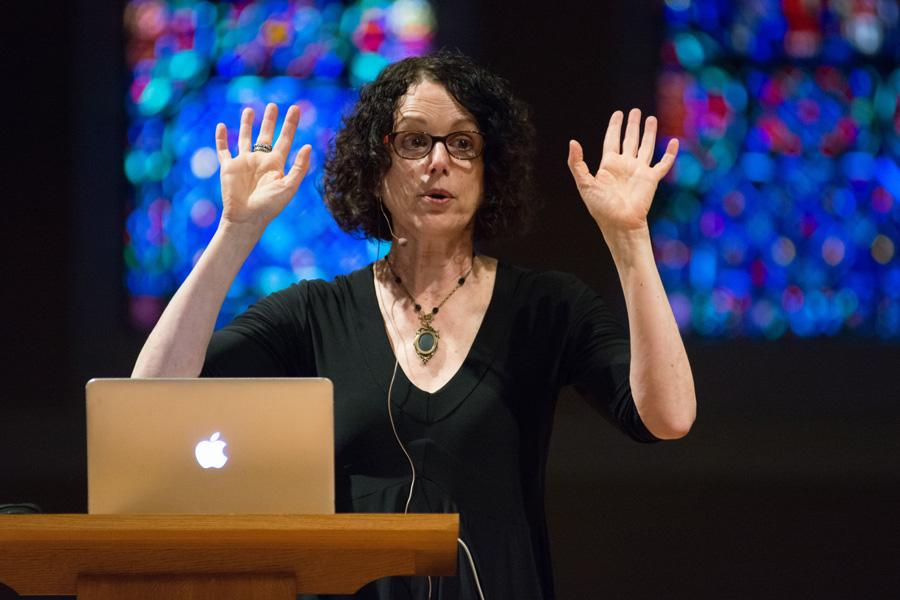 Robin DiAngelo speaks about white privilege, asking white audience members to be open to criticism. DiAngelo was the keynote speaker at the YWCA Evanston/North Shore's first Racial Justice Summit.