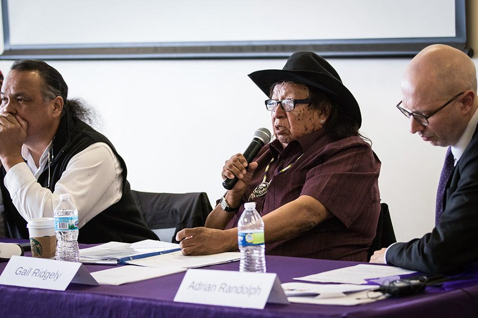 Gail Ridgely of the Arapaho speaks at a panel discussion Tuesday about John Evans' role in the Sand Creek Massacre in 1864. Roughly 40 people attended the event, which was hosted by One Book One Northwestern.