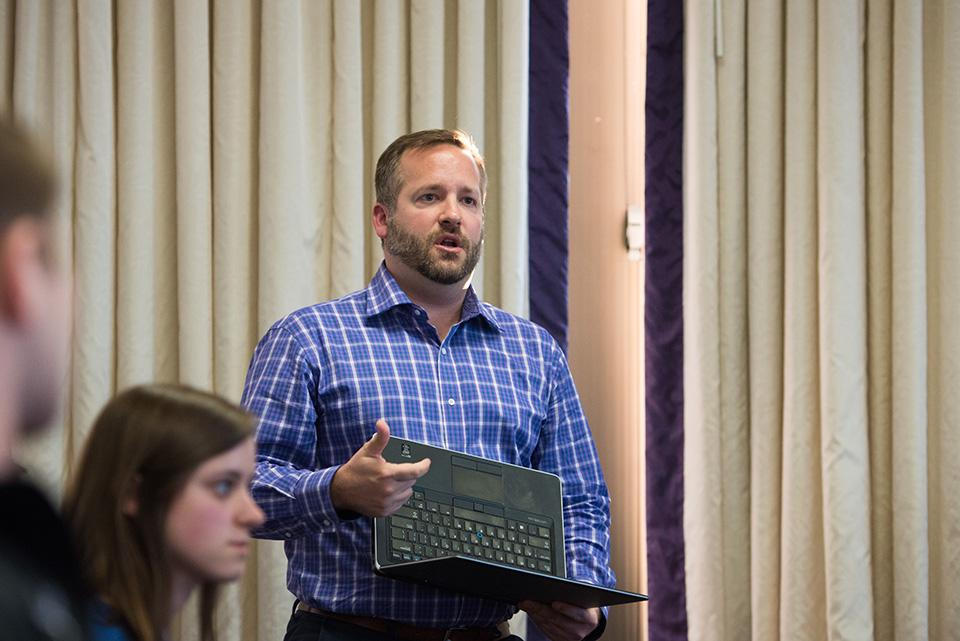Brent Turner, executive director of Campus Life, speaks at Associated Student Government Senate on Wednesday. Turner said he wants students and administrators to start a dialogue about student group exclusivity.